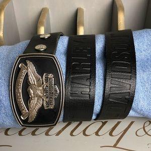 Harley Davidson black leather belt